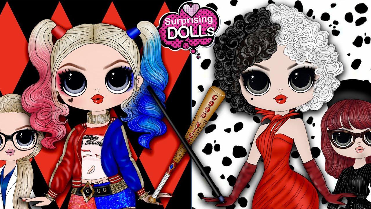 Cruella vs Harley Quinn Villains Transformation - DIY Paper Dolls & Crafts