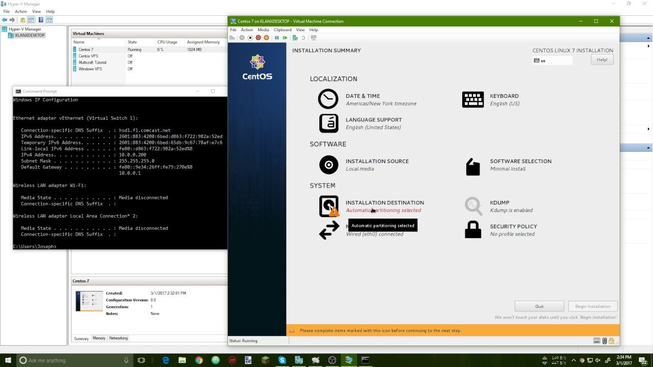 How to install Centos 7 in Windows 10 Pro Hyper-V (2017)