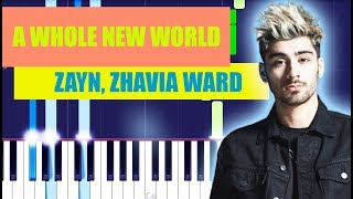 ZAYN, Zhavia Ward - A Whole New World (Piano Tutorial) From Aladdin