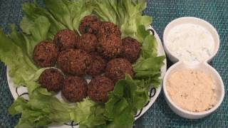 How To Make Falafel (with Tahini Sauce And Cucumber & Mint Dip)