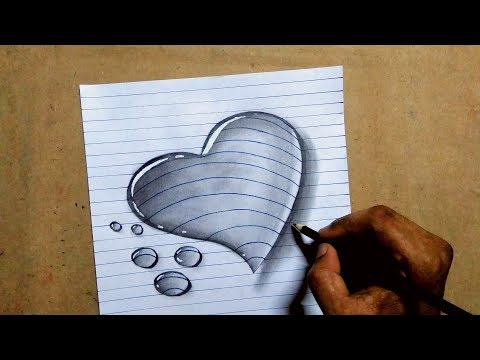 3d love heart water drop drawing on A4 paper || trick pencil sketch