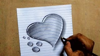 3d love heart water drop drawing on A4 paper    trick pencil sketch