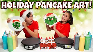 HOLIDAY CHRISTMAS PANCAKE ART CHALLENGE!!! Elf on the Shelf, Grinch, Santa Claus!