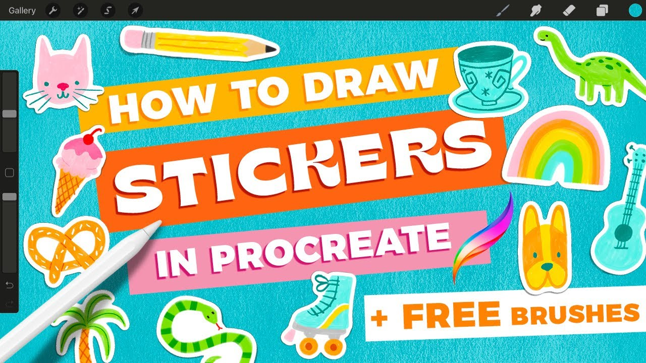How to Draw Stickers in Procreate + FREE Procreate Brushes
