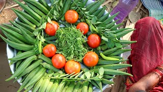 FARM FRESH BENDI RECIPE | my grandma Cooking Fresh Bendi | ఆంధ్ర బెండకాయ ఫ్రై