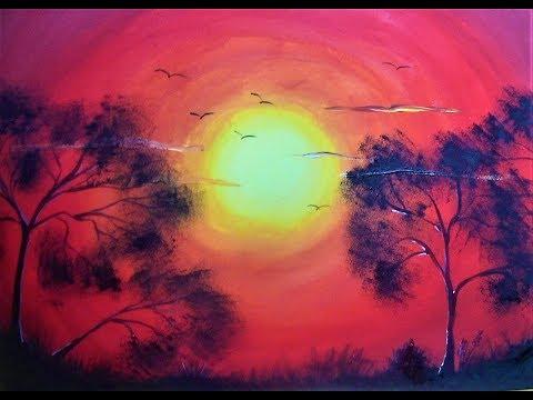 """Как поэтапно нарисовать """"Закат в Африке"""" за 30 минут гуашью. (Ускоренное)"""