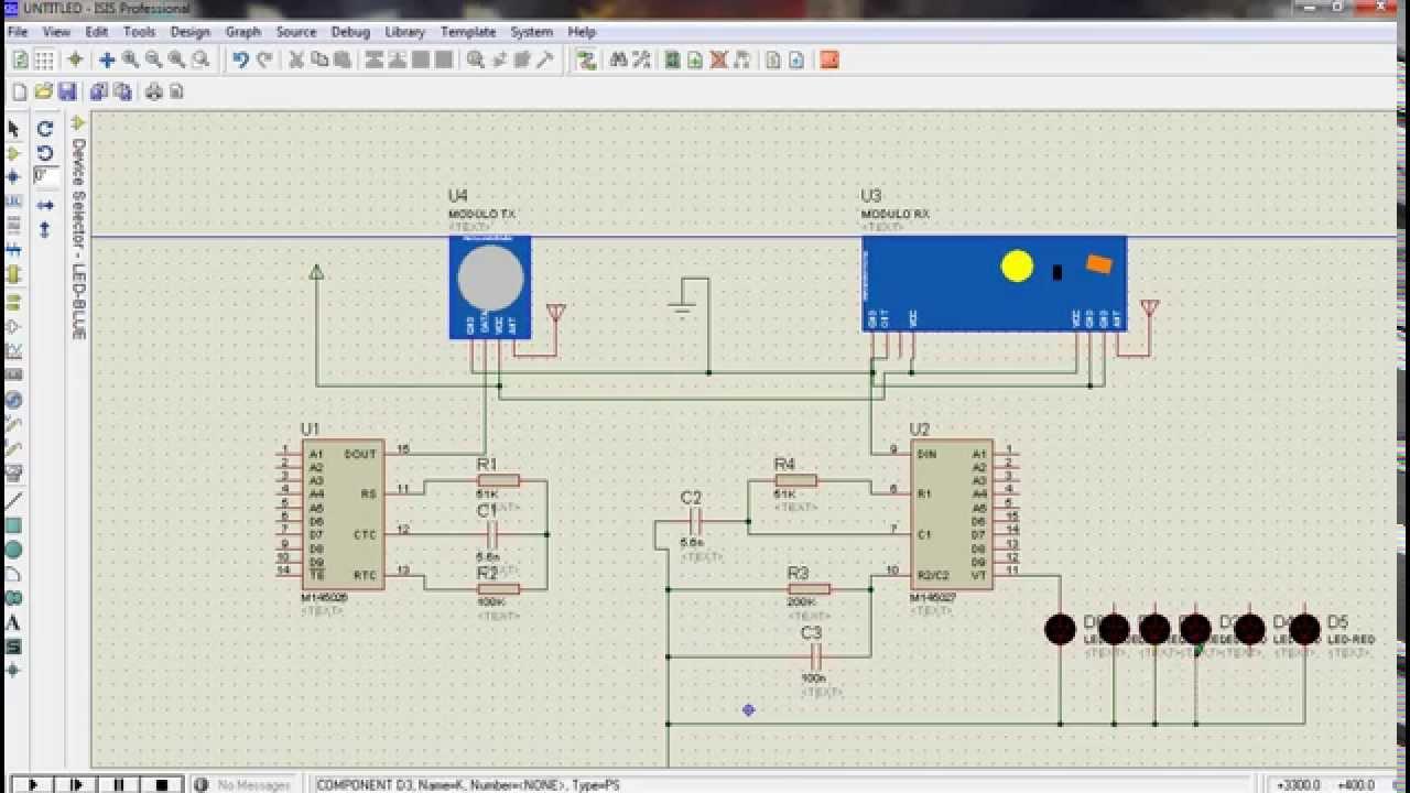 Tx Rx Virtual Wire using RF Link Module Proteus