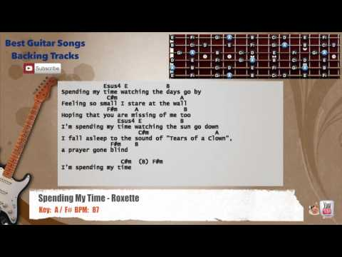Spending My Time - Roxette Guitar Backing Track with scale, chords and lyrics