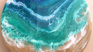 Easy epoxy resin beach art, using real sand!