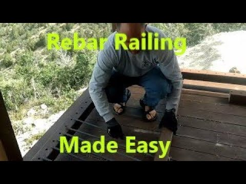 How to do an off grid DIY rebar railing with one person(Valley Family Cabin)
