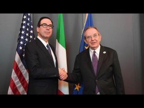 Steven Mnuchin meets with finance chiefs at G7 summit