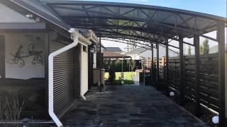 видео Площадка и навес из поликарбоната для машины на даче