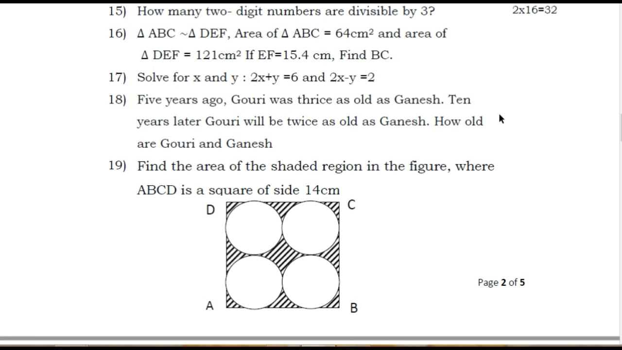 maths question paper 2019