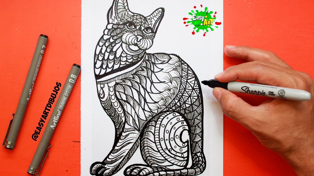 Como Dibujar Un Gato Mandalas How To Draw A Cat Youtube