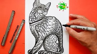 Como Dibujar un Gato - Mandalas │ How to draw a cat