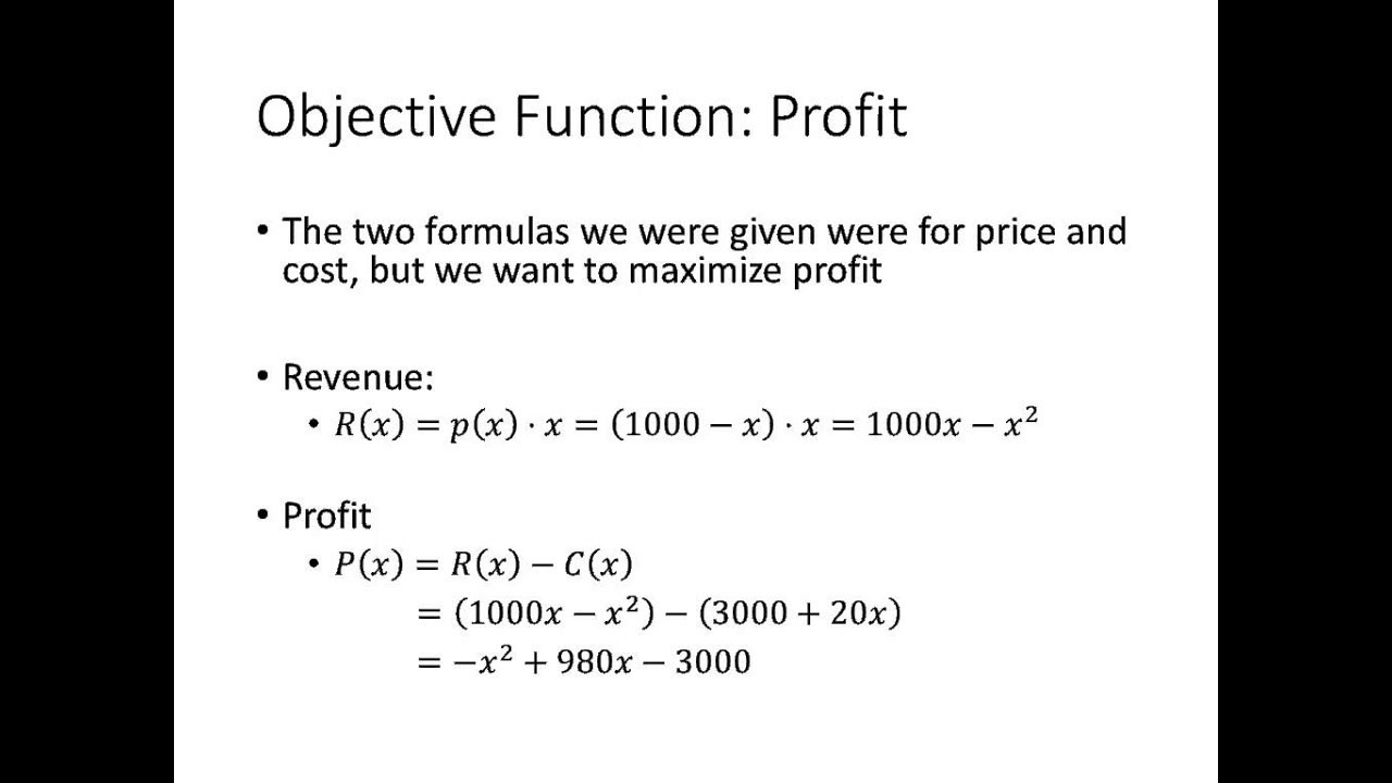 Calculus Maximizing Profit Youtube