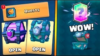 FIRST EVER NEW QUEST COMPLETE :: Clash Royale :: LEGENDARY CHEST AND MAGICAL CHEST OPENING!