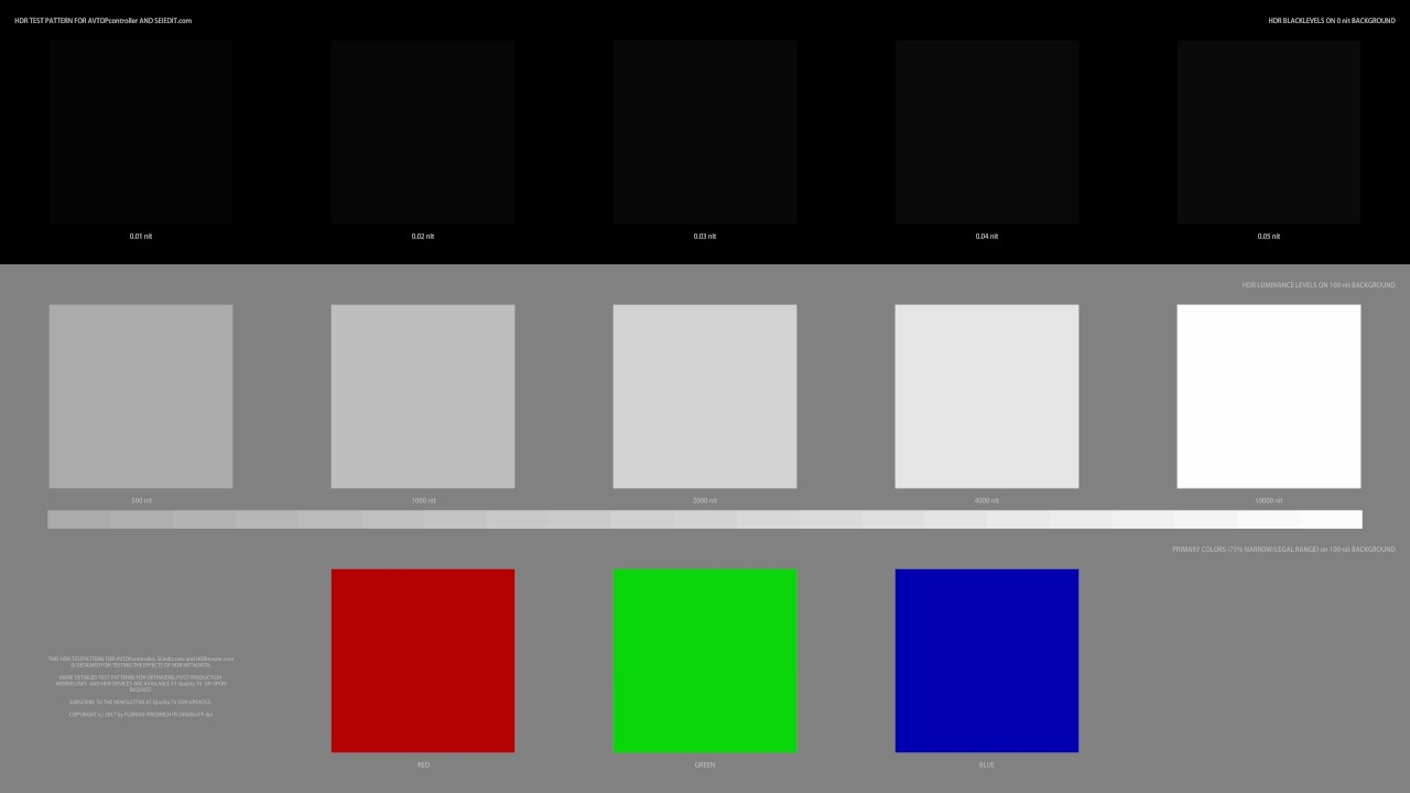 Real UHD HDR 10 Combination Test Pattern, luminance levels and primary  colors (chromecast ultra)