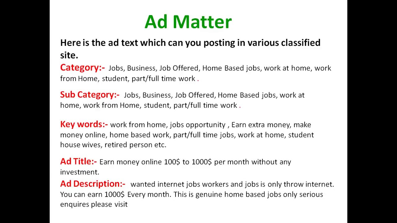 Online Copy Paste Work Ad posting Earn without investment 600$ to ...