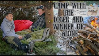 WINTER BUSHCRAFT CAMPING INSIDE A TREE with Winner of History's ALONE