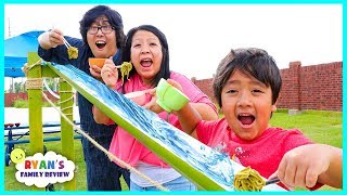 Noodle Challenge with Japanese Bamboo Noodle Slide and Trip to Japan for Family Fun Vacation