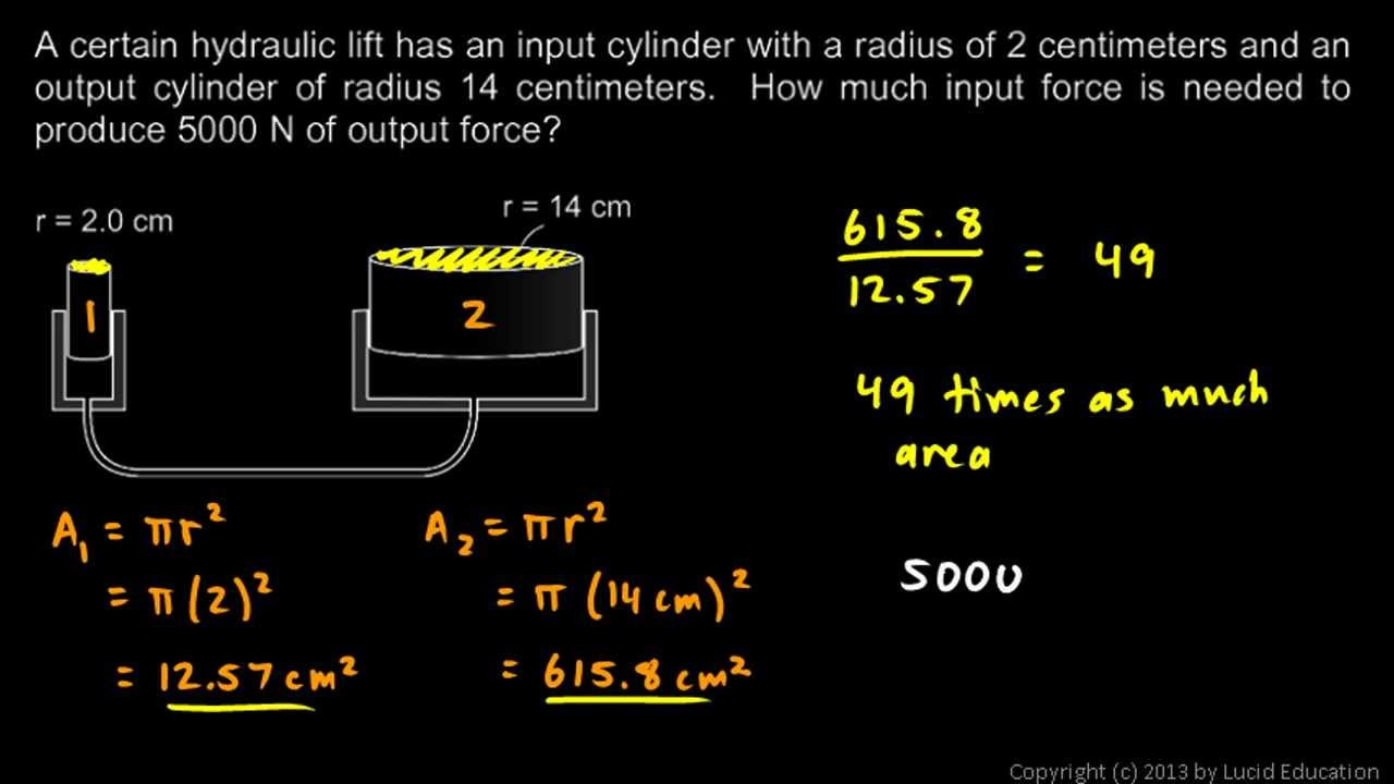 Physical Science 3 3e Practice Problems Hydraulic Lift