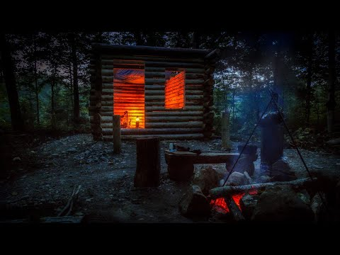 Build a Primitive Log Cabin in the Forest Alone in the Wilderness with Hand Tools