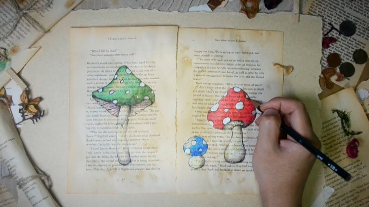 drawing mushrooms on old book pages jayart youtube - Book Pages