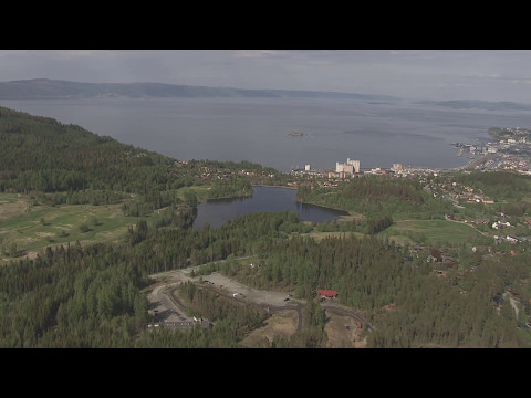 Trondheimsfjorden, Rissa, landbruksområde, Melhus, Bymarka - Flying Over Norway