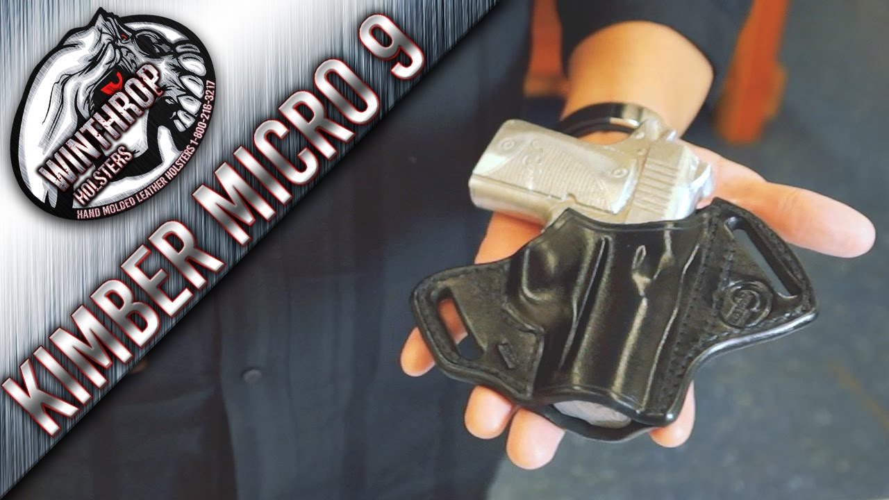 Kimber Micro 9 w/ Laser grips OWB Holster By: WinthropHolsters com