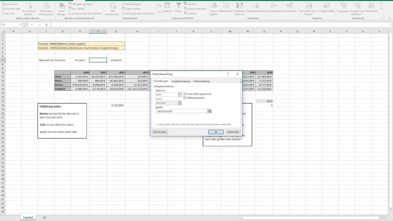 Excel 2016 - Index und Vergleich oder Wie finde ich was in meiner ...