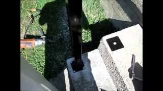How to install white vinyl composite railing post to concrete surface porch or deck