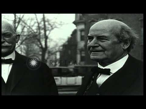William Jennings Bryan speaks to crowd from porch of building in Washington DC. HD Stock Footage