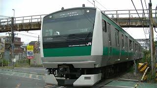 JRE233系ハエ108編成各駅停車新宿行き 武蔵小杉-新鶴見の踏切にて