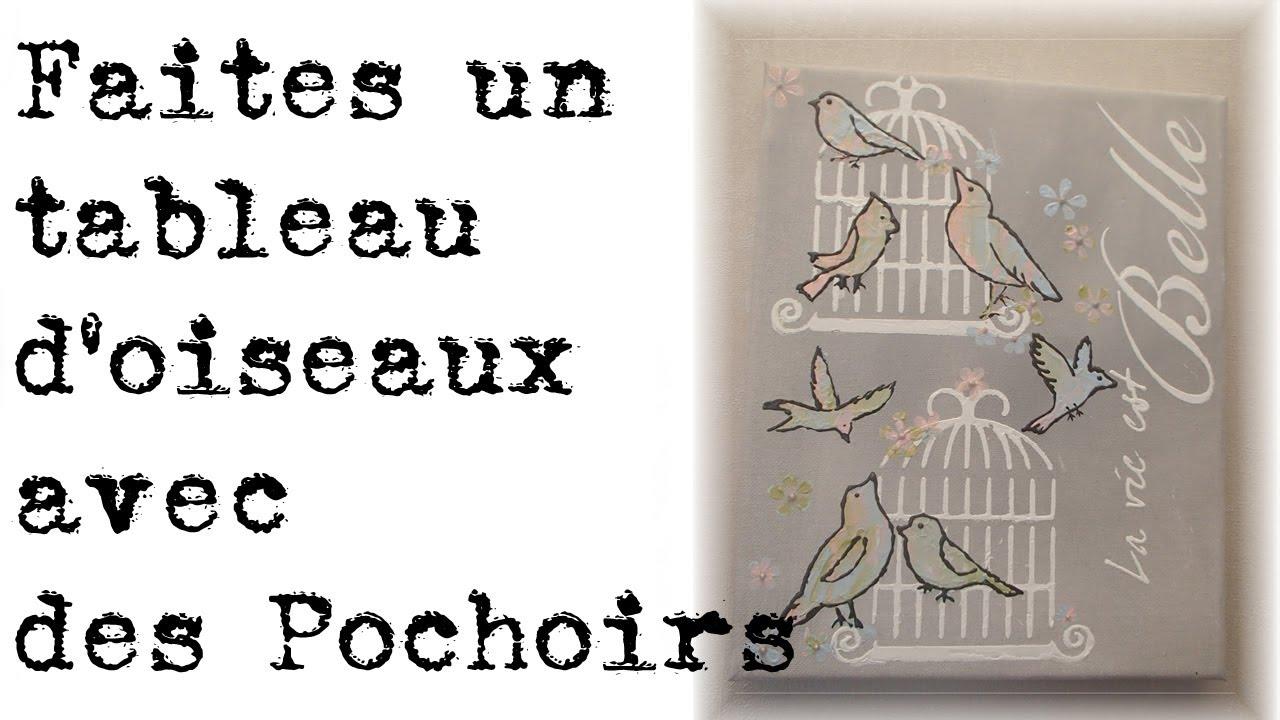 Tableau d 39 oiseaux aux pochoirs youtube - Realiser un tableau ...