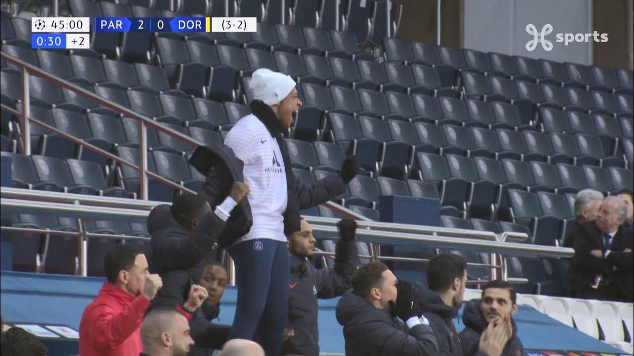 L'azione del raddoppio del PSG, conclusa con la rete di Bernat; PSG-Borussia 2-0.