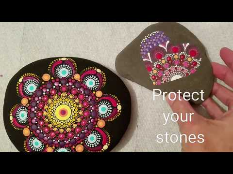 How to protect your painted rocks & stones _ brush on varnish - Liquitex