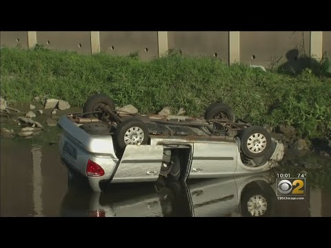 Car Plunges Into Creek In Rosemont