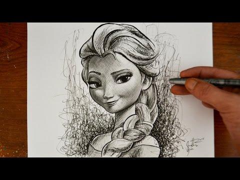 Drawing Elsa from Frozen - Disney Princess Snow Queen