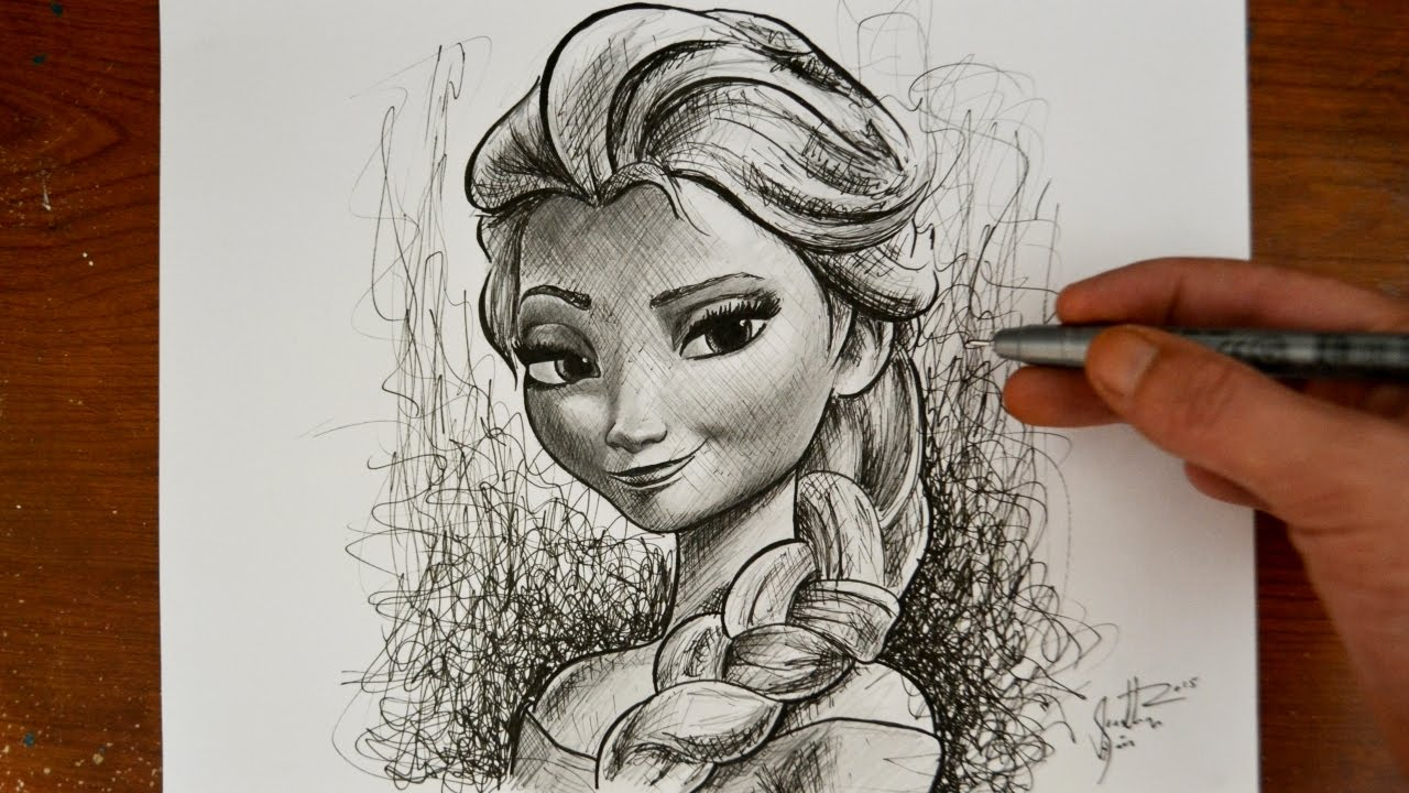 Drawing elsa from frozen disney princess snow queen youtube