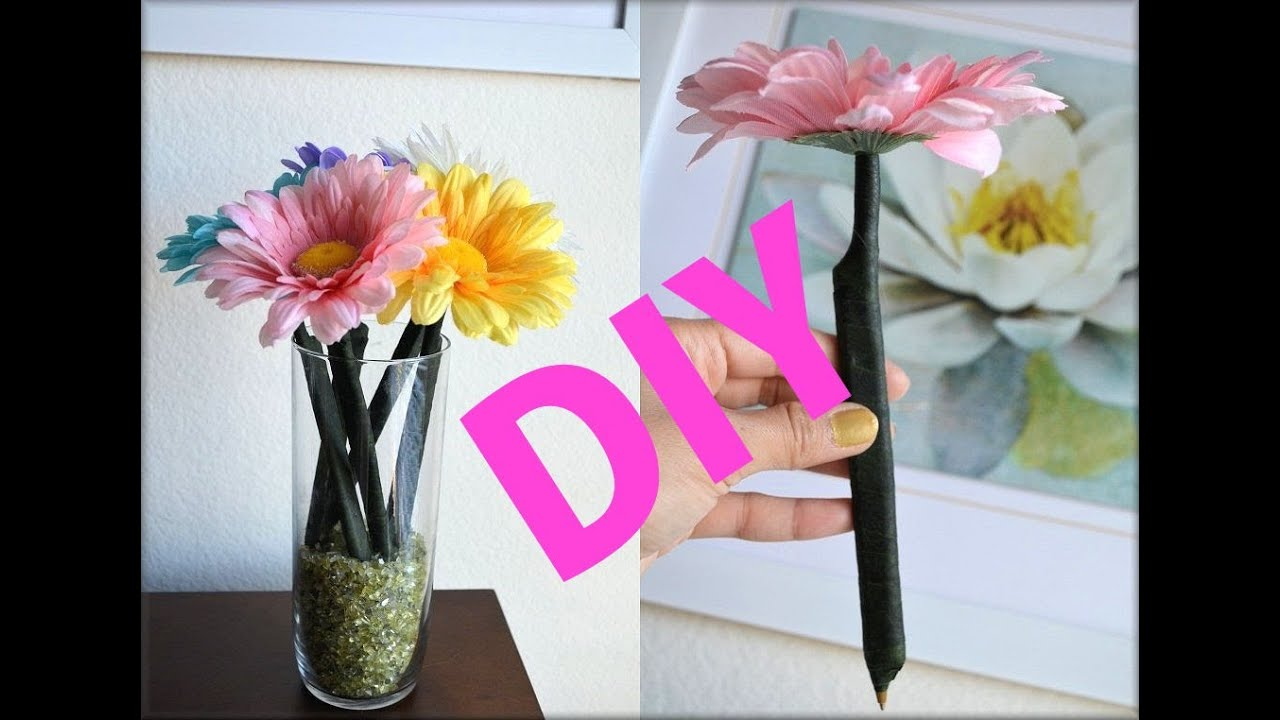DIY ROOM DECORATION FLOWER PENS (GIFT IDEA) - AprilAthena7 - YouTube