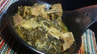 Siga Be Gomen Recipe Ethiopian - Amharic Sega Lamb Bones & Spinach Collards