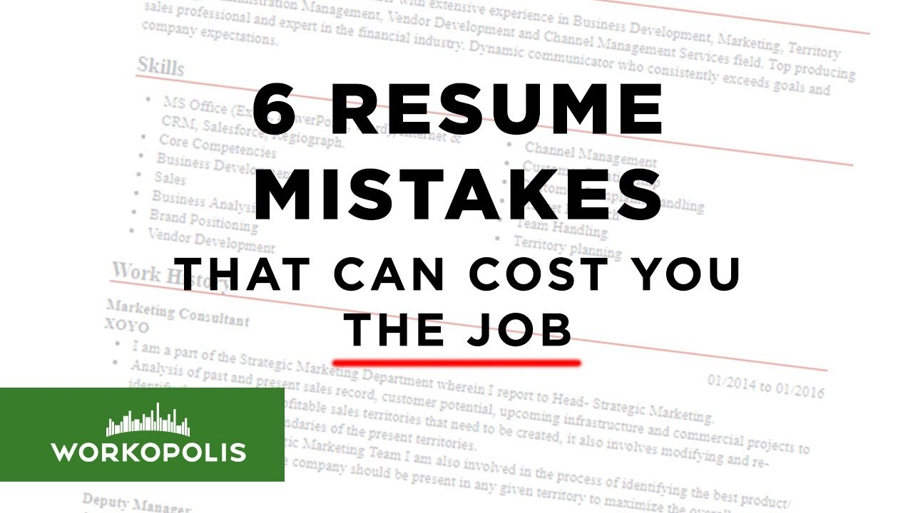 6 resume mistakes that can cost you the job youtube