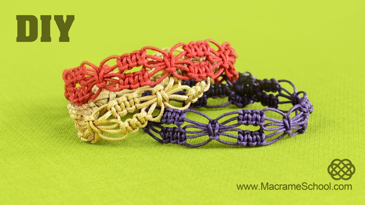 Diy Easy Square Knot Flower Bracelets Macrame School