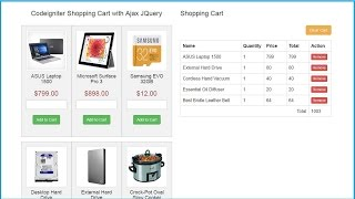 Codeigniter Shopping Cart with Ajax JQuery