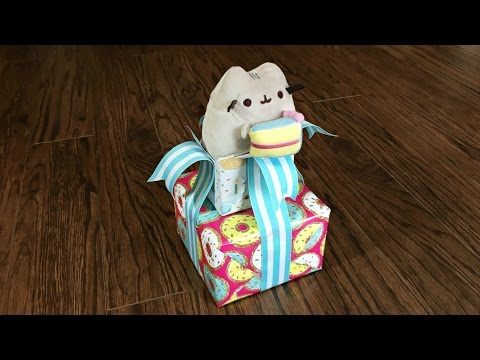 Pusheen The Cat Birthday Gift Wrapping Idea - Gift Wrapping Tutorial