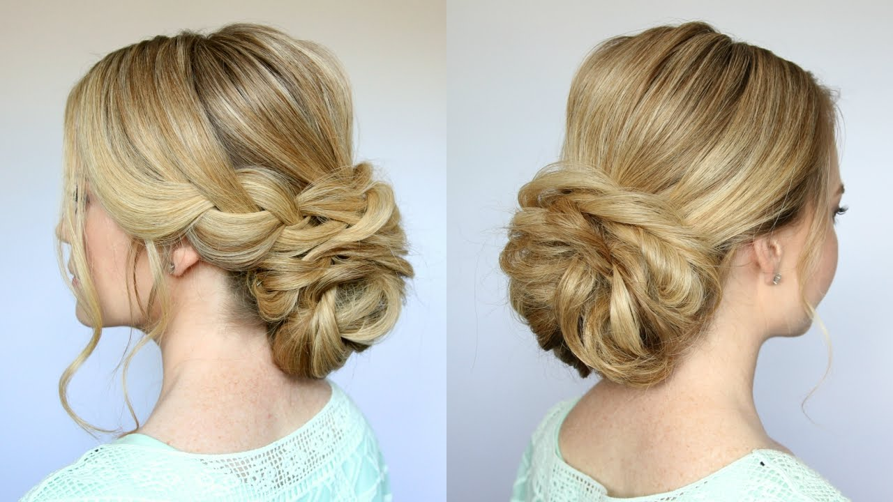 braid + low bun updo | missy sue - youtube