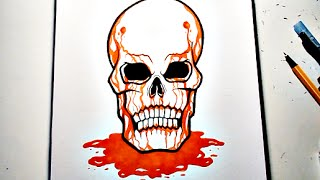 How To Draw BLOODY SKULL