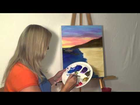Free Painting Lesson: Online guided acrylic painting for beginners (Techniques- Skies & Oceans #3)