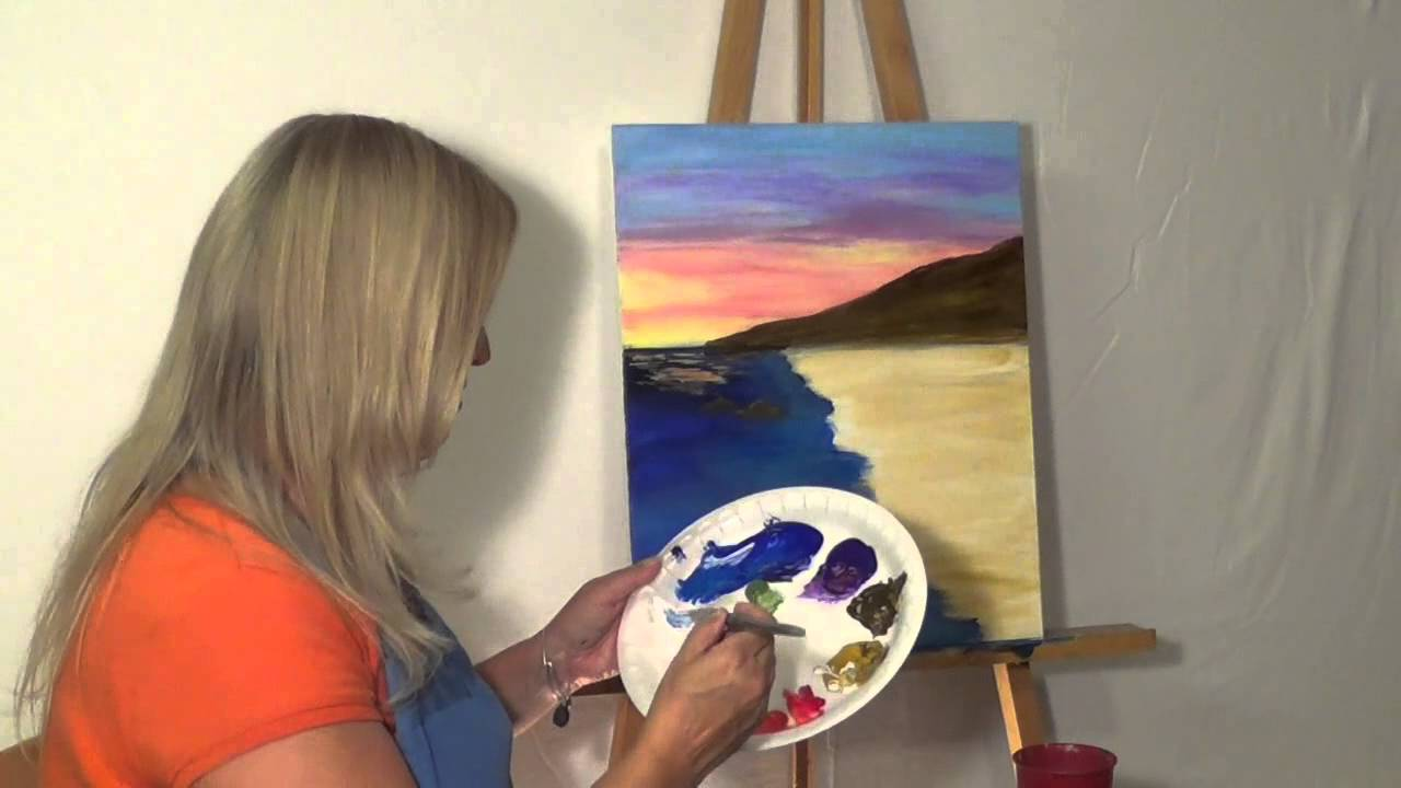 Free Painting Lesson Online Guided Acrylic For Beginners Techniques Skies Oceans 3